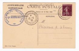 Assemblée Nationale 1932 Congrès De Versailles Semeuse 15 Centimes - Frankrijk