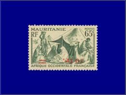 MAURITANIE Poste * - 136 A, Surcharge Renversée, Signé: 10f/65c. Chameliers. (Maury 141 B) - Cote: 425 - Mauritanien (1906-1944)