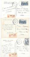 3 Cartes Postales Recommandées Paris Conférence De La Paix - Marcofilia (sobres)