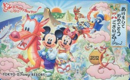 Télécarte NEUVE Japon - DISNEY RESORT - NEW YEAR 2012 - Mickey Minnie Dragon Hibou Owl Squirrel - Japan MINT Phonecard - Disney
