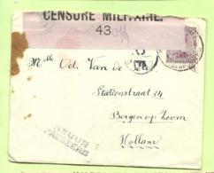 138 Op Brief PMB 4 -> Bergen Op Zoom (Holland) Strookje CENSURE MILITAIRE 43 (ROSE !!) + C.F.(Folkestone) (K5152) - Army: Belgium