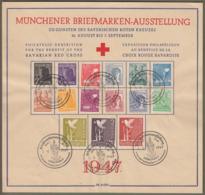"""Gemeinschaftsausgabe: Sonderkarte / Gedenkblatt Aus Mi.-Nr. 943-961 SST, """" Münchener Briefmarken-Ausstellung """"   X - Zona AAS"""