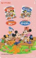 Télécarte Japon / 110-181066 - DISNEY - Mickey Minnie Donald En Pique-nique Milk Adv. Chien Dog Japan Phonecard - Disney