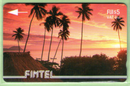 Fiji - Fintel - 1993 Second Issue - $5 Palms & Sunset - FIJ-FI-3 - VFU - Fidschi