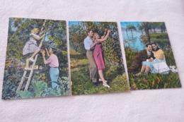 LOT DE 3 CARTES TENDRES COUPLES DANS LA NATURE (cecami 231) - Couples