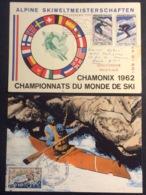 CM549 Sport Championnat Monde Ski Chamonix 1962 Flamme + Canoë Kayak 1969 PJ Lot 2 Carte Maximum 1326 1327 Et 1609 - Cartoline Maximum