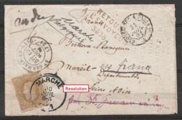 """L. Affr.N°32 Càd MARCHE /30 JUIL 1881 Pour MAREIL-MARLY Par St-Germain-en-Laye - Càd """"ERQUELINNES & PARIS"""" - """"Retour à L - 1869-1883 Léopold II"""