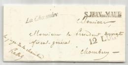 SAVOIE MARQUE SARDE S JEAN DE MAUR  + CURSIVE LA CHAMBRE  LETTRE FRANCHISE LE JUGE 1844 - 1801-1848: Precursors XIX