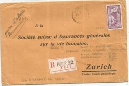 MERSON 3FR LILAS SEUL PAPIERS AFFAIRES REC PARIS 22 1927 POUR SUISSE - Postmark Collection (Covers)