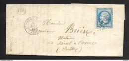 Manche-Lettre (De Gonneville)-Gros Chiffre 3814 De St Pierre Eglise Sur N°22 - 1849-1876: Période Classique