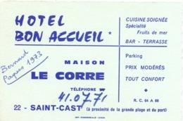 Carte Pub Reclame Kaart - Bar Terasse - Hotel Bon Accueil - Maison Le Corre - Saint Cast - Pubblicitari