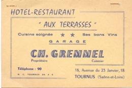Carte Pub Reclame Kaart - Bar Terasse - Hotel Restaurant - Aux Terrasses - Ch. Gremmel - Tournus - Publicités