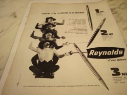 ANCIENNE PUBLICITE LIGNE CARREE STYLO REYNOLDS 1961 - Other Collections