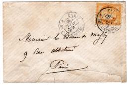 Lettre 1876 Paris Cérès 15 Centimes - 1871-1875 Ceres
