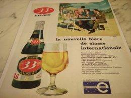 ANCIENNE PUBLICITE CLASSE INTERNATIONALE BIERE 33 EXPORT 1968 - Alcohols