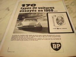 ANCIENNE PUBLICITE 170 TYPE DE VOITURE ESSAYES  HUILE BP  1961 - Other