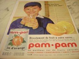 ANCIENNE PUBLICITE JUS DE FRUIT EN BOITE PAM PAM 1961 - Posters