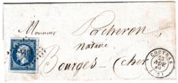 Lettre 1859 Coutras Gironde Bourges Cher Morin Dumanoir Notaire - 1853-1860 Napoléon III