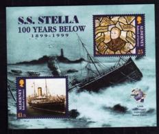 ALDERNEY 1999 NAUFRAGE S.S. STELLA 100 YEARS BELOW UPU BLOCK SHEET BLOCCO FOGLIETTO MNH - Alderney
