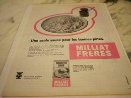 ANCIENNE PUBLICITE PATES ET BONNES PATES MILLIAT FRERES 1961 - Posters
