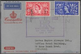 SINGAPORE 1953 AIRMAIL FLIGHT COVER FROM GB WITH QE CORONATION 2 VALUES - Singapur (...-1959)