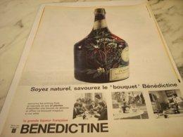 ANCIENNE PUBLICITE SOYEZ NATUREL BOISSON LA BENEDICTINE 1961 - Alcohols