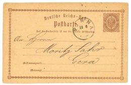 Deutsche Reichs-Post, Postkarte, Pirna 1874 Nach Gera - Preussen