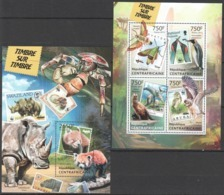 CA634 2013 CENTRAL AFRICA CENTRAFRICAINE WWF FAUNA ANIMALS BIRDS STAMPS ON STAMPS KB+BL MNH - W.W.F.