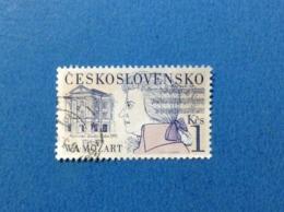 1991 CECOSLOVACCHIA CESKOSLOVENSKO MOZART 1 KCS FRANCOBOLLO USATO STAMP USED - Usati