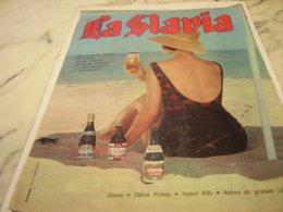 ANCIENNE PUBLICITE SUR LA PLAGE LA SLAVIA 1961 - Alcohols