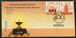 India 2019 100Years Of Jallianwala Bagh Massacre Memorial Statue Sikhism 2v FDC - FDC