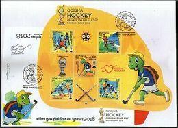 India 2018 Odisha Men�s Hockey World Cup Odd Shaped Sport Sikhism M/s On FDC - FDC