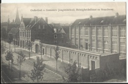 Mortsel : OUDE-GOD - Gemeente Jongensschool, Reinigheidsdienst En Brandweer 1915 Afstempeling Bahnpost Spoorweg - Mortsel
