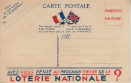 Thematiques Militaria CP Loterie Nationale - Patriotic