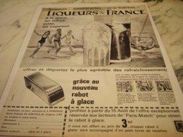 ANCIENNE PUBLICITE LIQUEUR  DE FRANCE ET RABOT DE GLACE 1961 - Posters
