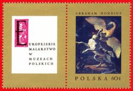Polonia. Poland. 1967. Mi 1810. Abraham Hondius. Dog Fighting Heron - Arte