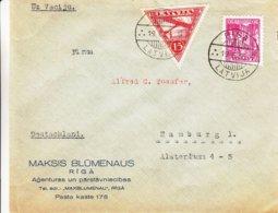 Lettonie - Lettre De 1936 - Oblit Riga - Exp Vers Hamburg - Avions - Soldats - - Lettonie