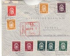 Lettonie - Lettre Recom De 1940 ° - Oblit Riga - Exp Vers Praha - Armoiries - Avec Censure - Lettonie