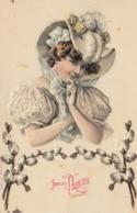 Thematiques Fêtes Vœux Joyeuses Pâques Dame Au Chapeau Serie 903 N° 2595 - Pascua