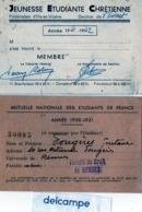 2 CARTES - RENNES (35)  Mutuelle Nationale Des Etudiants De France - Jeunesse Etudiante Chrétienne (Mr Fougères) - Vieux Papiers