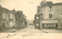 WW 15 SAINT-FLOUR. Café Restaurant à La Porte Ribeyre Et Rue Du Collège 1906 Impeccable - Saint Flour