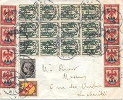 Lettre  Cosne Nièvre Chaine 30c Bloc De 12 - 1921-1960: Modern Period