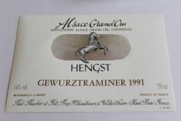 Etiquette Neuve  Alsace  Gewurztraminer 1991 Hengst 14o - Gewurztraminer
