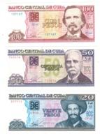 Cuba 1-3-5-10-20-50-100 Pesos , LOT OF 7 UNC  Banknotes. - Cuba