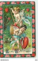 N°11344 - Carte Fantaisie Gaufrée - To My Valentine - Angelots - Saint-Valentin
