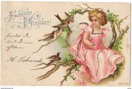 N°12450 - Carte à Paillettes - Clapsaddle - Fröhliche Pfingsten - Fillette Dans Un Arbre Avec Des Oiseaux - Pentecôte