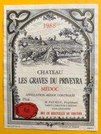 11827 - Château Les Graves Du Priveyra 1988 Médoc - Bordeaux