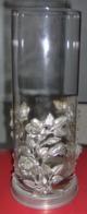 Grand Vase En Verre Avec Support En étain - Marque : CLASSIC PEWTER - Verre & Cristal