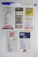 Autocollants Vignettes - AUTO MOTO CAMIONS Entretien Moteur VIDANGE - Lot De 5 Vignettes HUILES Différentes - Stickers