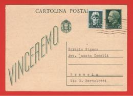 R.S.I.:  21/12/1943  I.P. VINCEREMO  -  15 C. VERDE  CON  GEMELLO  VIAGGIATO  -  FILAGRANO  C 97 B - 4. 1944-45 Repubblica Sociale